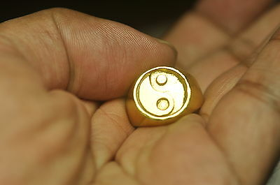Yin and Yang symbol Energy positive Balance light force  24K Gold Plated Ring
