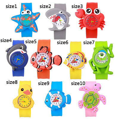 Cute Cartoon Slap Snap On Silicone Wrist Watch Boys Children Kids Gift