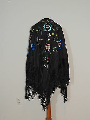 1920-30's Black Light Weight Wool Hand Embroidered Piano Shawl w Fringe
