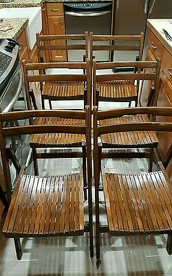 6 Mid Century Vintage Wooden wood flat stackable Folding Chairs patio party etc.