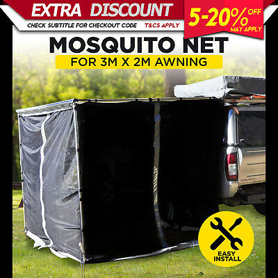 Car Awning Mosquito Net Mesh Tent Shade Car Roof Top 4wd 4x4 3M x 2M Camping