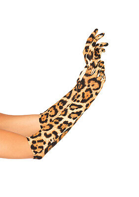 Elbow Length Leopard Costume Gloves Accessory