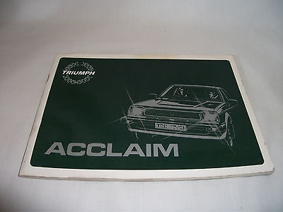 Triumph Acclaim Car Owners Handbook – Avenger models – Ref 1167