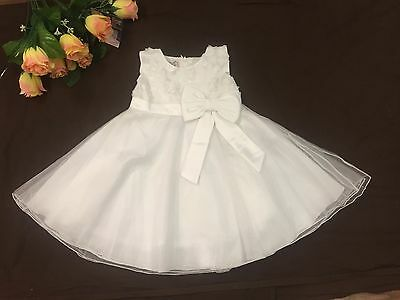 Flower Girls Ivory Christening Baptism Bridesmaid Party Dress 0-24 Months