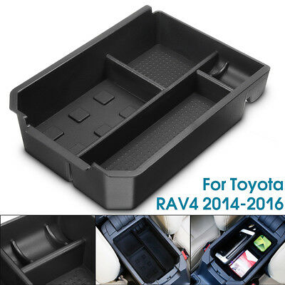 Black Central Console Storage Tray Armrest Container Box For Toyota RAV4 14-16