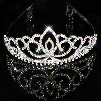 Rhinestone Bridal Wedding Crystal Hair Headband Crown Comb Tiara Prom Pageants