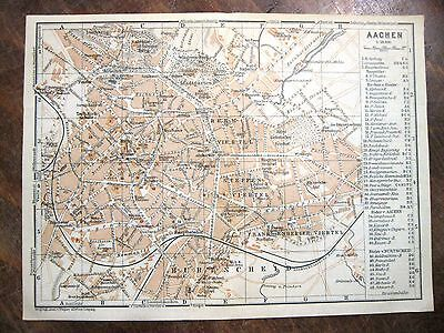 stampa antica old antique print map Germany street plan Aachen 1914
