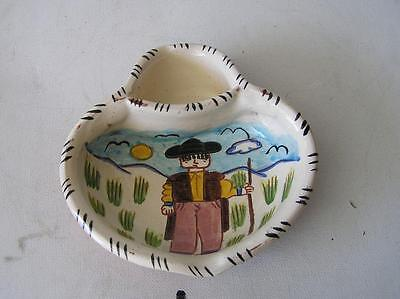 """Vintage Painted Terracotta Pottery Bowl Pirraca Redondo Portugal 6.5"""" x 6"""""""