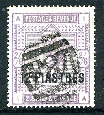 BRITISH LEVANT-1885-8 12pi on 2/6 Lilac Blued Paper.  A fine used example Sg 3