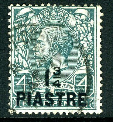 BRITISH LEVANT-1913-4 1¾ pi-4d Deep Grey Green THIN POINTED 4 INFRACTION Sg 38a
