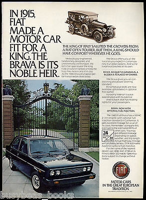 1980 FIAT BRAVA advertisement, Fiat Brava sedan, with 1915 Open Tourer