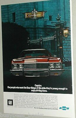 1973 Chevrolet CAPRICE advertisement, CHEVY Caprice, front view, badge close-up