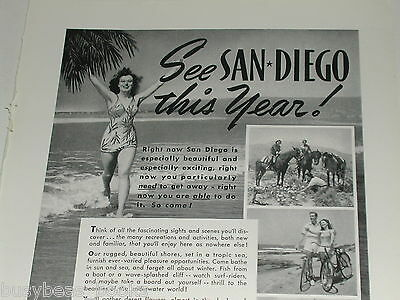 1942 San Diego Tourism ad, California, bathing beauty