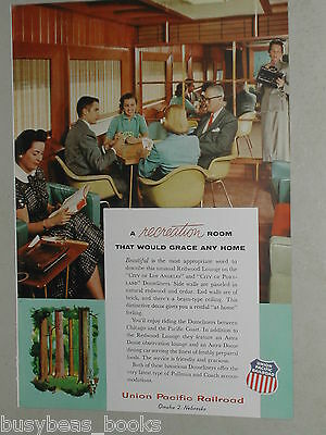 1956 UNION PACIFIC RR advertisement, UP RR, Redwood Lounge car