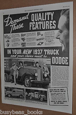 1937 Dodge Truck advertising page, DODGE Pickup, panel, stake body
