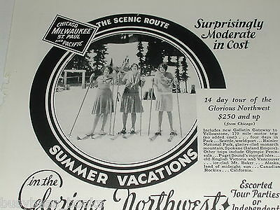 1930 Milwaukee Road advertisement, CMStP & P passenger train, women skiing