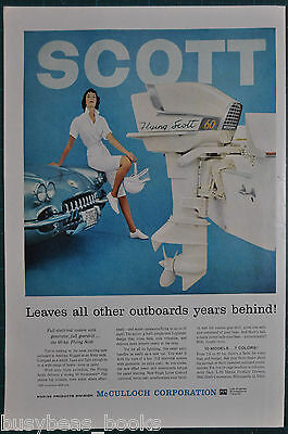 1959 FLYING SCOTT outboard motor advertisement, McCULLOCH Marine, with Corvette