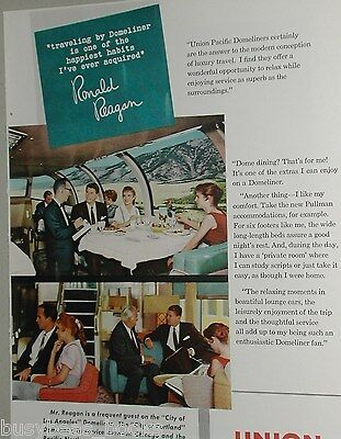 1959 Union Pacific advertisement, UP Railroad, with movie star RONALD REAGAN