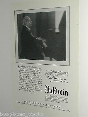 1924 BALDWIN Piano advertisement, pianist Vladimir de Pachmann