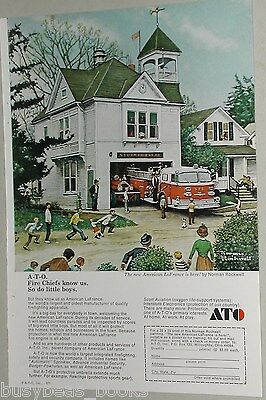 1971 American LaFrance FIRETRUCK advert, Norman Rockwell firehouse painting