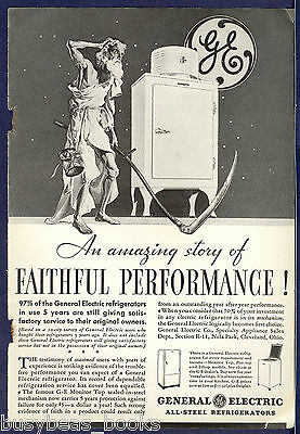 1934 General Electric advertisement, early MONITOR-TOP refrigerator