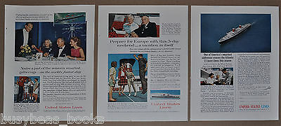 1963 United States Lines advertisements x3, S. S. UNITED STATES, on board photos