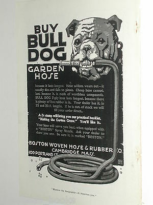 1918 Bull Dog Garden Hose advertisement, Boston Woven Hose Company with BULL DOG