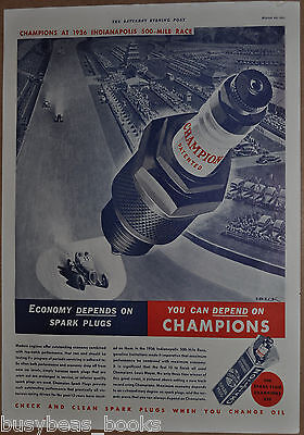 1937 CHAMPION SPARK PLUG advertising page, Indianapolis 500 Indy Peter Helck art