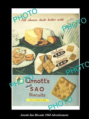 OLD LARGE HISTORIC AUSTRALIAN ARNOTTS BISCUITS ADVERTISEMENT PHOTO, 1960 SAO's 2