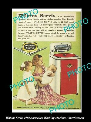 Old Large Historic Aust Wilkins Servis Washing Machine Advertisement Photo, 1960