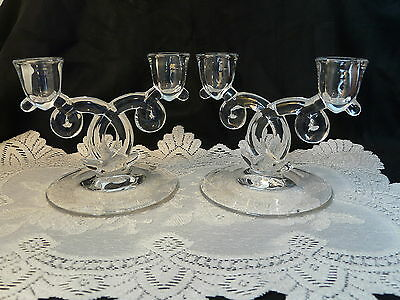 Pair Heisey Glass Lariat Candle Holders 2 Hole Candlesticks