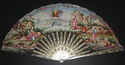 Amazing Antique 18Th Chinese Carved Gold Gilt Mother Of Pearl Painted Scene Fan