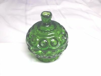 Vintage L.E. Smith Moon & Stars Covered Candy Dish / Compote ~ Green
