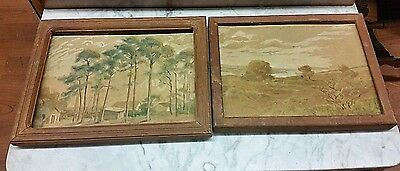 Antique Circa 1920's Watercolor Paintings Lot of 2 Trees, River