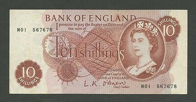 BANK OF ENGLAND - QEII  O'Brien  10 sh  M01 Replacement  About EF  ( Banknotes )