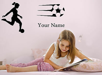 Personalised Girl Woman Football Your Name Wall Sticker Decal Sport Bedroom Deco