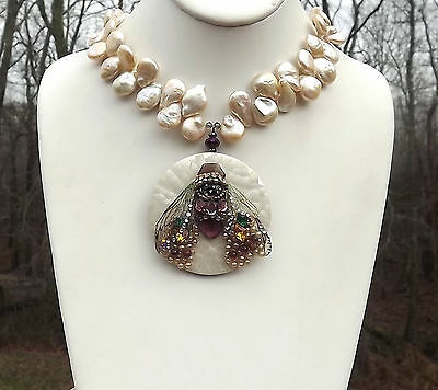 Jeweled Cicada necklace Blush Baroque Keshi Pearls Vintage MOP Pendant