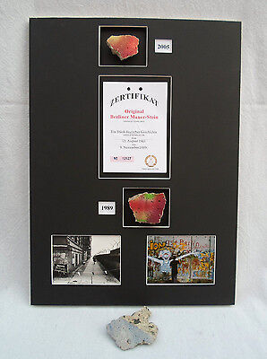 Authentic Pieces Of The Berlin Wall Germany W/ Certificate Photographs Mounted