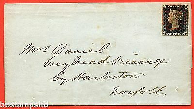 """SG. 2. A1 (2) tj. AS15. """" LF """". 1d Black. Plate 2. A fine used example on cover."""