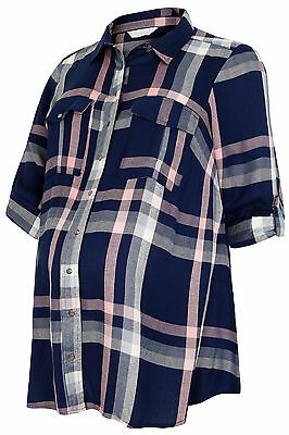 Plus Size Womens Bump It Up Maternity Blue & Pink Check Shirt With Waist Tie