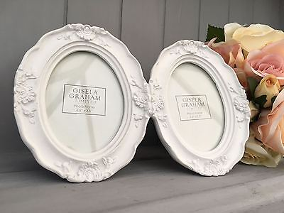 Small Shabby Chic White Oval Double Ornate Photo Frame,Gisela Graham Picture