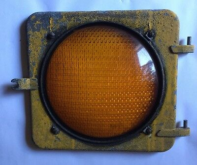YELLOW STOP GO Traffic Stop Light Signal Lens With Aluminum Frame Vintage