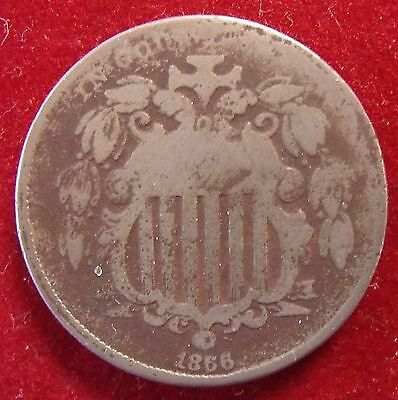 1866 Shield Nickel About Good Variety 1 Rays Between Stars – Free Shipping