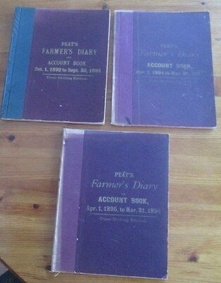 3 Rare Antique Hand Written Farmers Diaries & Account Books 1892 To 1896