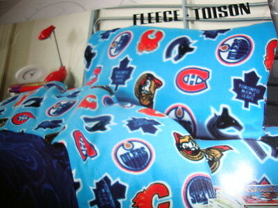 NHL licensed product 3 pcs Fleece Hockey logos twin sheet set New in package