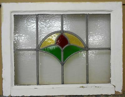 "OLD ENGLISH LEADED STAINED GLASS WINDOW Cute Floral 21.75"" x 16.75"""