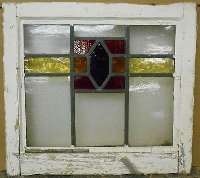 "OLD ENGLISH LEADED STAINED GLASS WINDOW Nice Geometric 18.5"" x 16.75"""