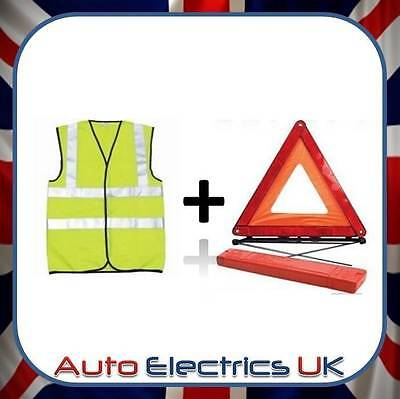 Reflective Warning Sign Triangle Car Breakdown Emergency & High Visibility Vest