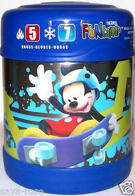 NWT 10oz Mickey Mouse, Donald Duck  Stainless Steel Food Jar THERMOS Funtainer