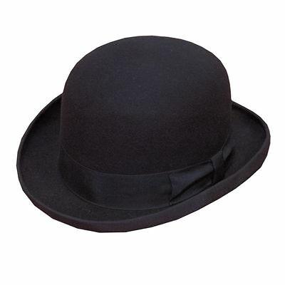 100% Wool Mens Black Bowler Hat Fashion Hat Satin Lining 58-60cm larg Soft Wool